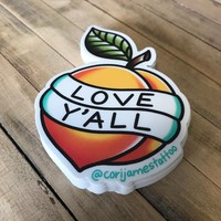Love Y'all Peach Sticker