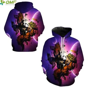 Vegeta VS Son Goku 3D Print Skateboarding Hoodies Male Autumn Winter Sweatshirts Dragon Ball Z Super Saiyan Hooded Hoody Coat