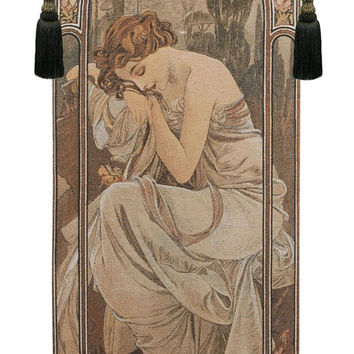 Mucha Nuit Tapestry Wall Art Hanging