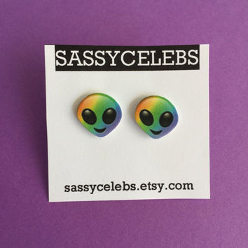 Rainbow Alien Emoji Earring Set