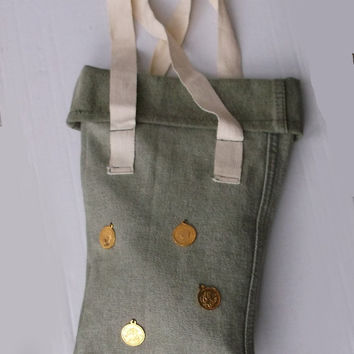 Green Denim Bag, Tote Bag with White Fabric Handles, Handmade