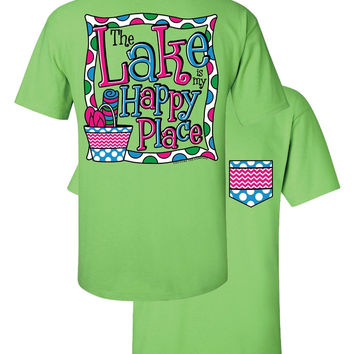 Southern Couture The Lake is My Happy Place Chevron Faux Pocket Girlie Bright T Shirt