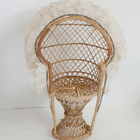 Vintage miniature doll size 70s peacock chair with lace and ribbon tan in cream retro antique doll furniture