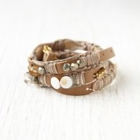 Free People Kay Court Leather and Bead Wrap Bracelet at Free People Clothing Boutique