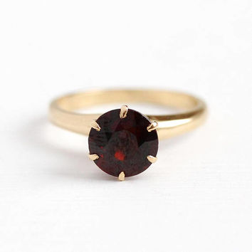 Vintage Garnet Ring - 14k Yellow Gold Genuine Dark Red Gem Fine Jewelry - 1930s Size 5 3/4 January Birthstone 1 + Carat Raised Solitaire