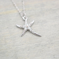 starfish necklace, bridesmaid gift, tropical necklace, sea star jewelry, christmas, starfish charm, beach wedding, summer jewelry, starfish