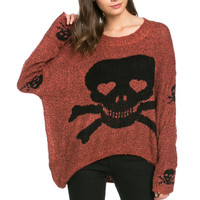 Skulls All Around Oversized Sweater Rust