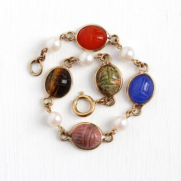 Vintage Scarab Bracelet - Retro Egyptian Revival 12k Rosy Yellow Gold Filled & Simulated Pearl - Petite Genuine Gemstone Jewelry for Her