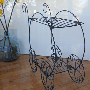 Vintage Metal Flower Cart Style Plant Stand
