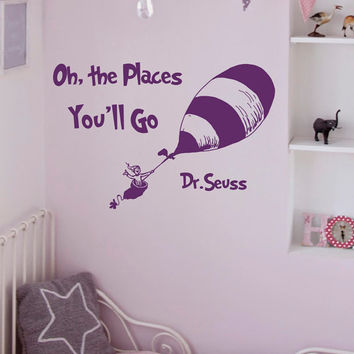 Wall Decal Quote Oh The Places You'll Go Dr Seuss Nursery Decor Vinyl Stickers Crib Bedding Wall Art Mural Bedroom Dorm Home Decor Q058