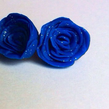 Handmade Deep Blue Glitter Stud Earrings