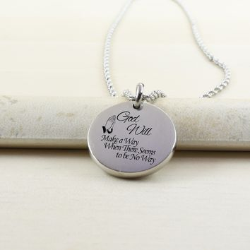 Thick Disc Necklace - GOD WILL MAKE A WAY