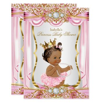 Brunette Princess Baby Shower Pink Silk Gold Card