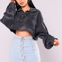 Analia Cropped Jacket - Navy