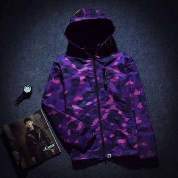 Tide brand ape man WGM camouflage shark head men and women couple hooded windbreaker coat Purple camouflage