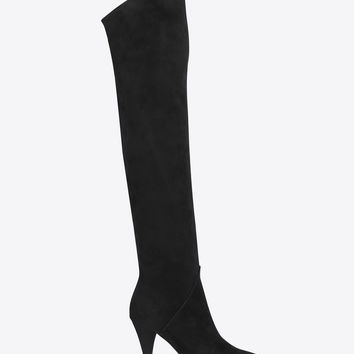 Saint Laurent CAT BOOT 90 Over The Knee Boot IN BLACK Suede | YSL.com