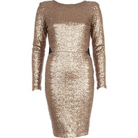 River Island Womens Gold sequin open back midi dress