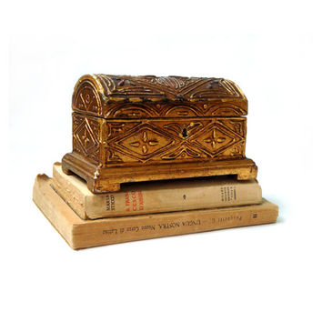 Antique wood jewelry box , Italian Jewelry Box Carved Wooden , Christmas Gift , Wedding Ring Box