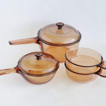 Corning Vision Glass Cookware Set Amber Brown