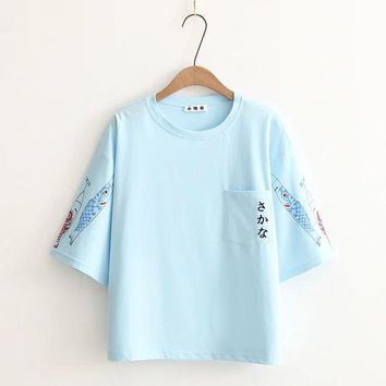 Japan Fish Style Printed Pocket Loose Tees