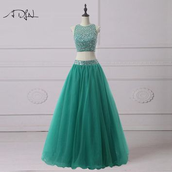 Two Piece Green Ball Gown