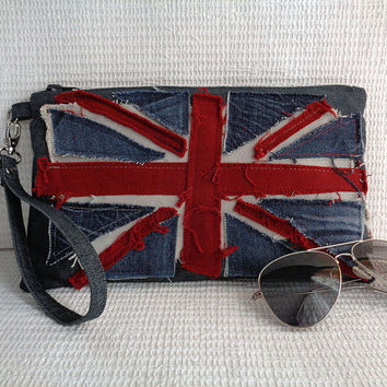 Denim wristlet clutch make up cosmetic zipper bag pouch case recycled Union Jack