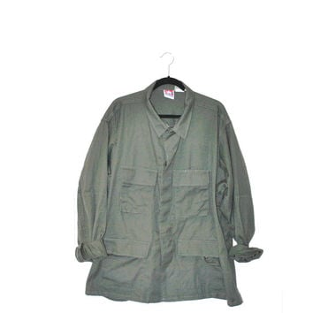 military field jacket / army surplus moss green baggy GRUNGE unisex coat anorak