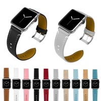 Joyozy Leather for Apple Watch Band  Slim Replacement Wristband Sport Strap for Iwatch Nike+, Series 3 2 1, Edition Stainle