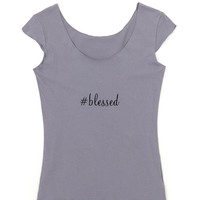Blessed -Hashtag - Women's Graphic Tee in Slate Grey