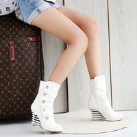 On Sale Hot Deal Rhinestone High Heel Stylish Korean Hollow Out Wedge White Boots [9432963786]