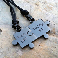 Christmas Gift,Boyfriend Girlfriend GIft, Engraved Hearts Titanium Steel Puzzles Necklace, Customized Couples Necklace