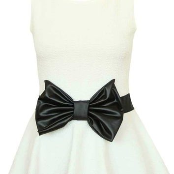 Love Letter Top | White Black Leather Bow Peplum Tops | RicketyRack.com