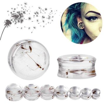 ac DCCKO2Q 1 Pair 10mm-22mm Ear Expander Body Piercing Tunnels Jewelry Natural Dandelion Resin Flesh Tunnels Stone Ear Plugs Ear Gauges