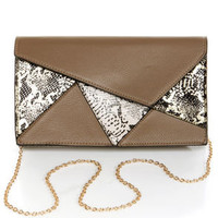 Reptile Rookie Grey Snakeskin Clutch