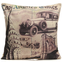 Vintage Los Angeles Times Pattern Throw Pillow Case Sofa Office Cushion Cover Home Decor