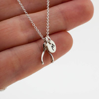 Personalized Tiny Silver Wishbone Necklace - 925 Sterling Silver Wishbone Pendant and Hand Stamped Initial Disc . Personalized Jewelry