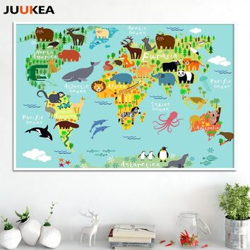 Nordic Children Kawaii Cartoon Animals World Map, Canvas Print Painting Poster Wall Pictures For Kids Room Home Decor