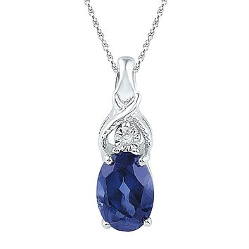 Sterling Silver Women's Oval Lab-Created Blue Sapphire Solitaire Diamond Pendant 7-8 Cttw - FREE Shipping (US/CAN)