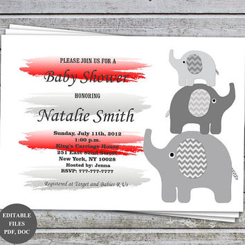 Baby Shower Invitations Elephant Girl Baby Shower Invitation Red Grey Baby Shower Invites (01-1C) Instant Download Editable Files PDF