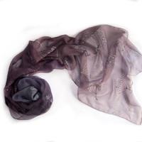 Cyber Monday Etsy Silk scarf-Ombre hand painted silk chiffon scarf-Old lavender to light grey ombre scarf with silver  and black dandelions