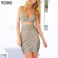 New Women Summer Camis Dress Sexy Deep V-neck Backless Mini Dress Front Crossed Bodycon Dress Party Clubwear