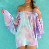 Better Days Tie Dye Two Way Wear Top With Flounced Sleeves