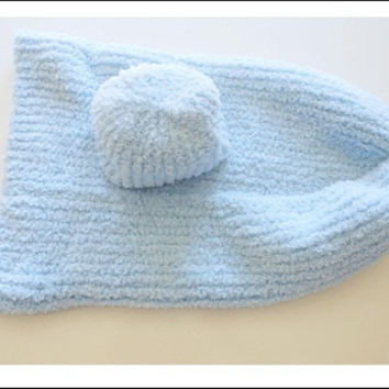 Knitted Infant Cocoon Blue with Hat