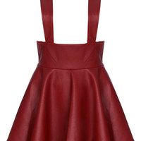 ROMWE | Red Faux Leather Suspender Skirt, The Latest Street Fashion