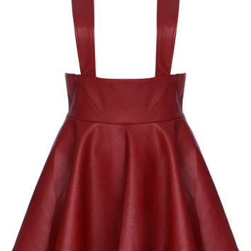 ROMWE   Red Faux Leather Suspender Skirt, The Latest Street Fashion
