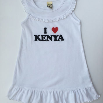 I Love Kenya Infants Girls Summer Ruffle Collar Tank Dress