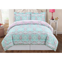 Pem America CS8810KG-1500 Mint Blue and Pink Three-Piece King Comforter Set - (In No Image Available)