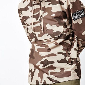 ONETOW OBEY Crosstown Camouflage Half Zip Anorak Jacket at PacSun.com