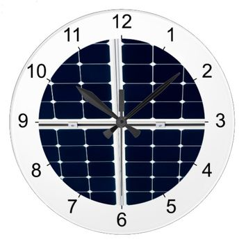 Solar power panel large clock