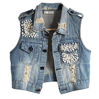 Pearl Embellishment Denim Vest with Epaulets